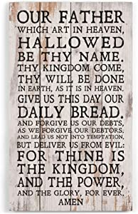 P. Graham Dunn Our Father Lord's Prayer White Wash 14 x 24 Inch Solid Pine Wood Pallet Wall Plaque Sign