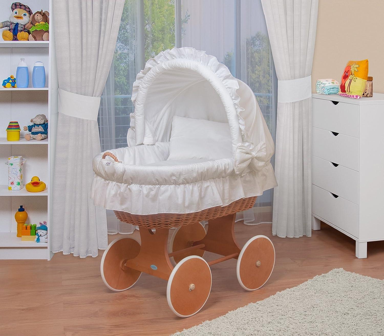 WALDIN Baby Stubenwagen-Set mit Ausstattung,XXL,Bollerwagen,komplett,6 Modelle wählbar,Gestell Räder lackiert,Stoffe weiß
