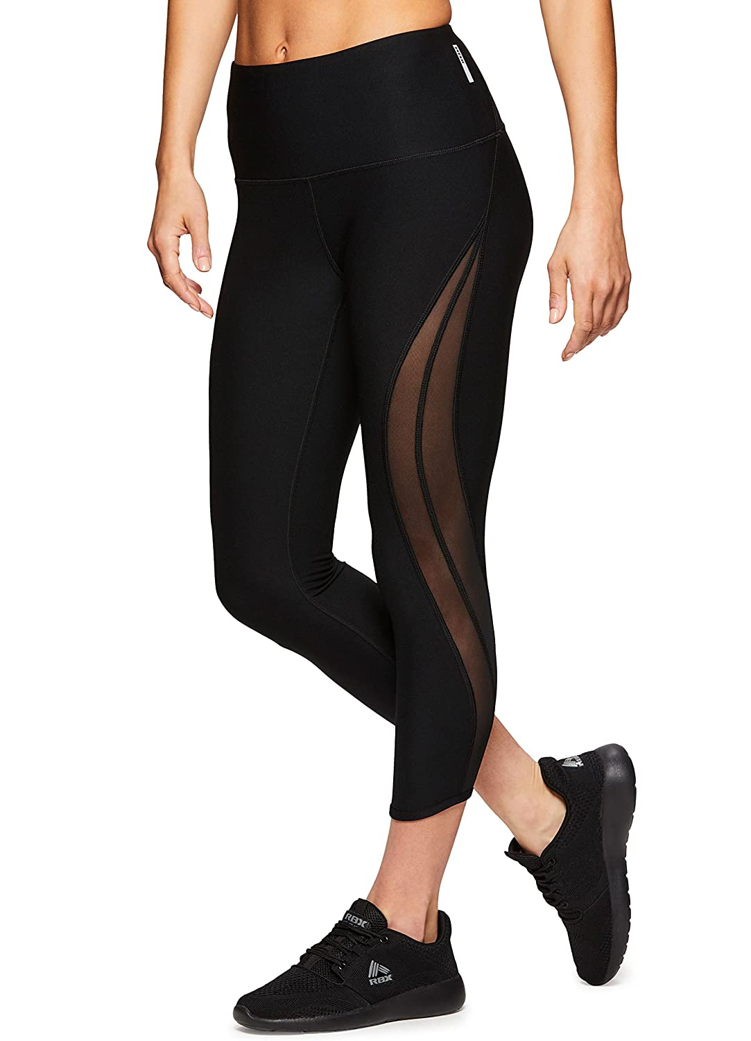 RBX Active Women's Gym Yoga Capri Length Workout Leggings with Mesh ACR6-21-MSHXSTRP