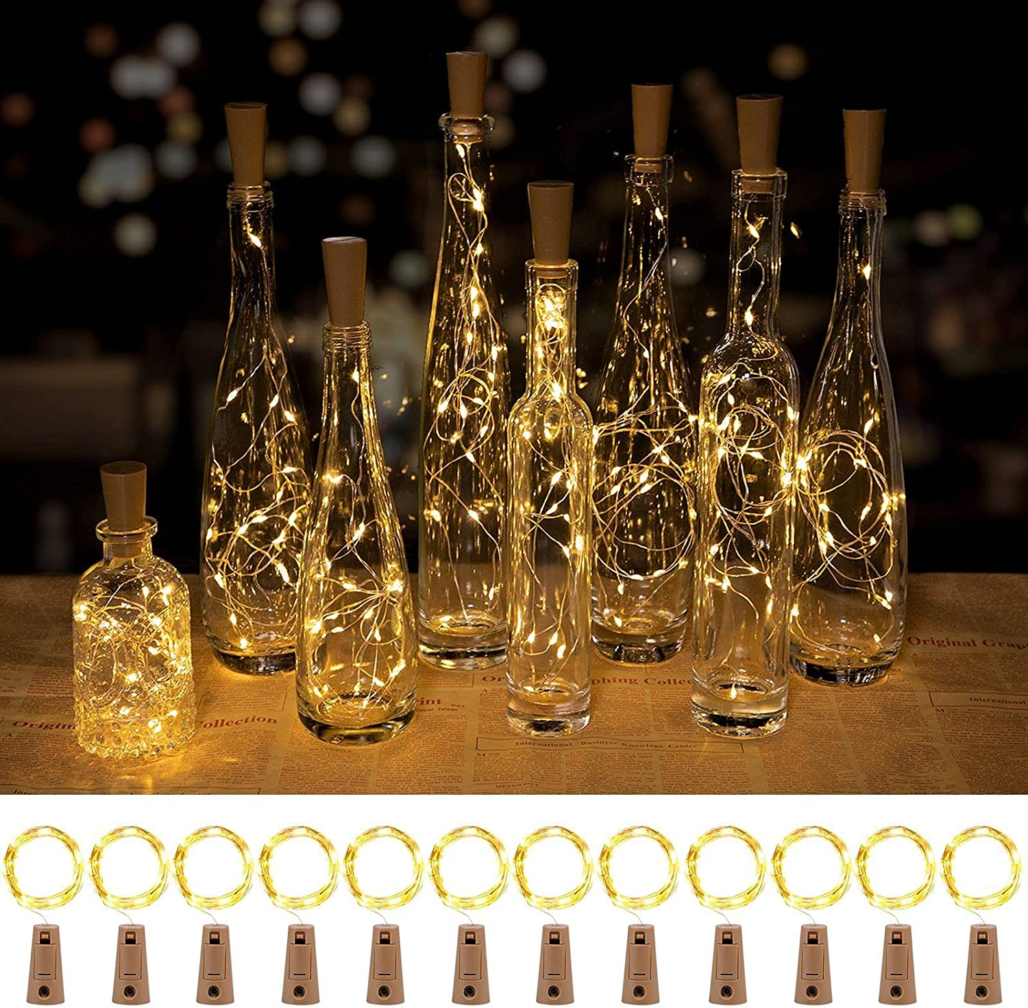 Wine Bottle Lights with Cork, 8 Lighting Modes 12 Pack 20 LED Waterproof Battery Operated Cork Lights, Silver Wire Mini Fairy Lights for Liquor Bottles DIY Party Bar Christmas Holiday Wedding Décor