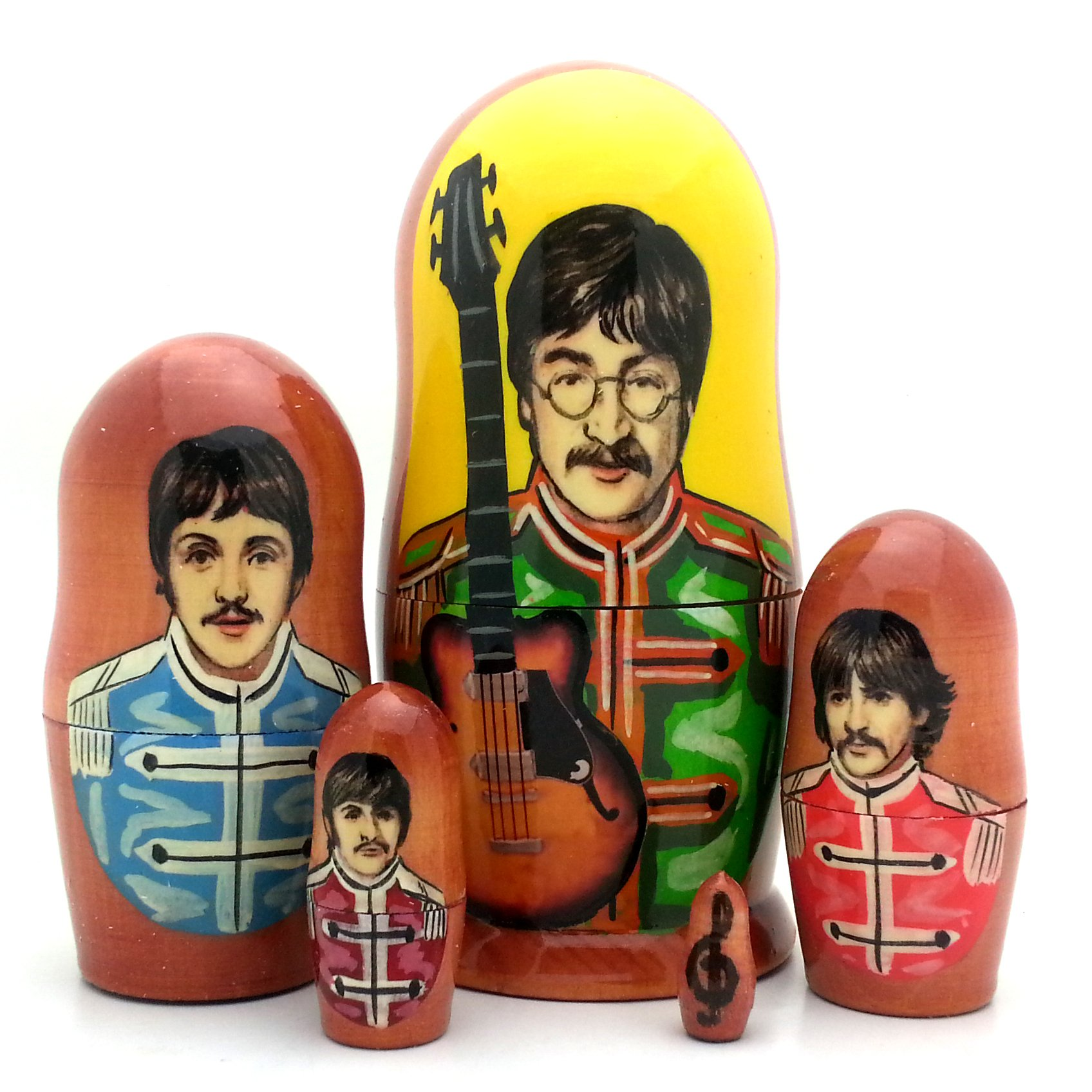 Beatles Sergent Pepper Russian Nesting Dolls 5 Piece Doll Set 4'' by BuyRussianGifts