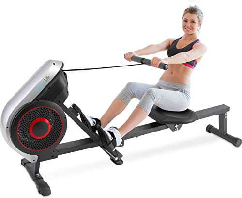 SereneLife Rowing Machine Air and Magnetic Rowing Machine Rowing Exercise Machine for Gym or Home Use Measures Time, Distance, Stride, Calories Burned Rowing Machine Cardio Workout for Fitness