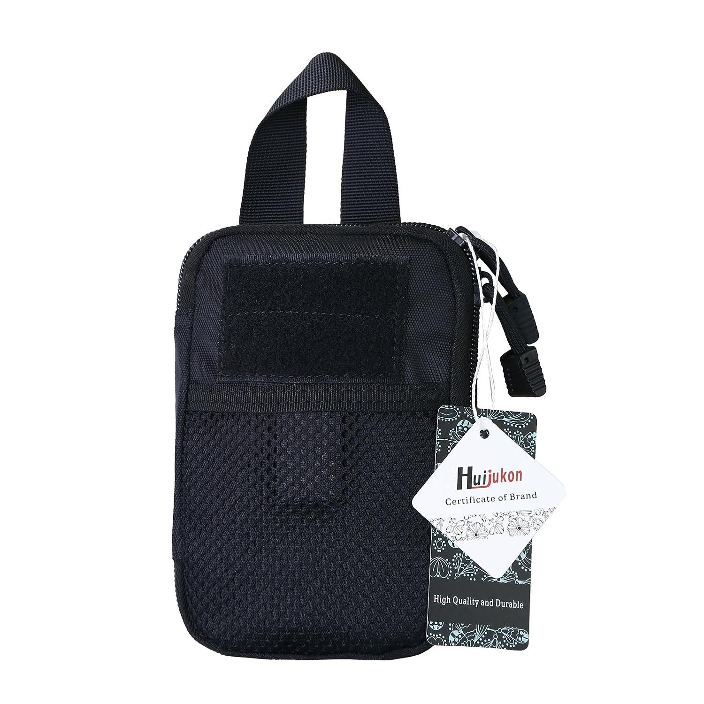 Huijukon 戦術的なMOLLEポケットオーガナイザーポーチEDCポケットオーガナイザーポーチ (ブラック) B06XWMY8MN ブラック ブラック