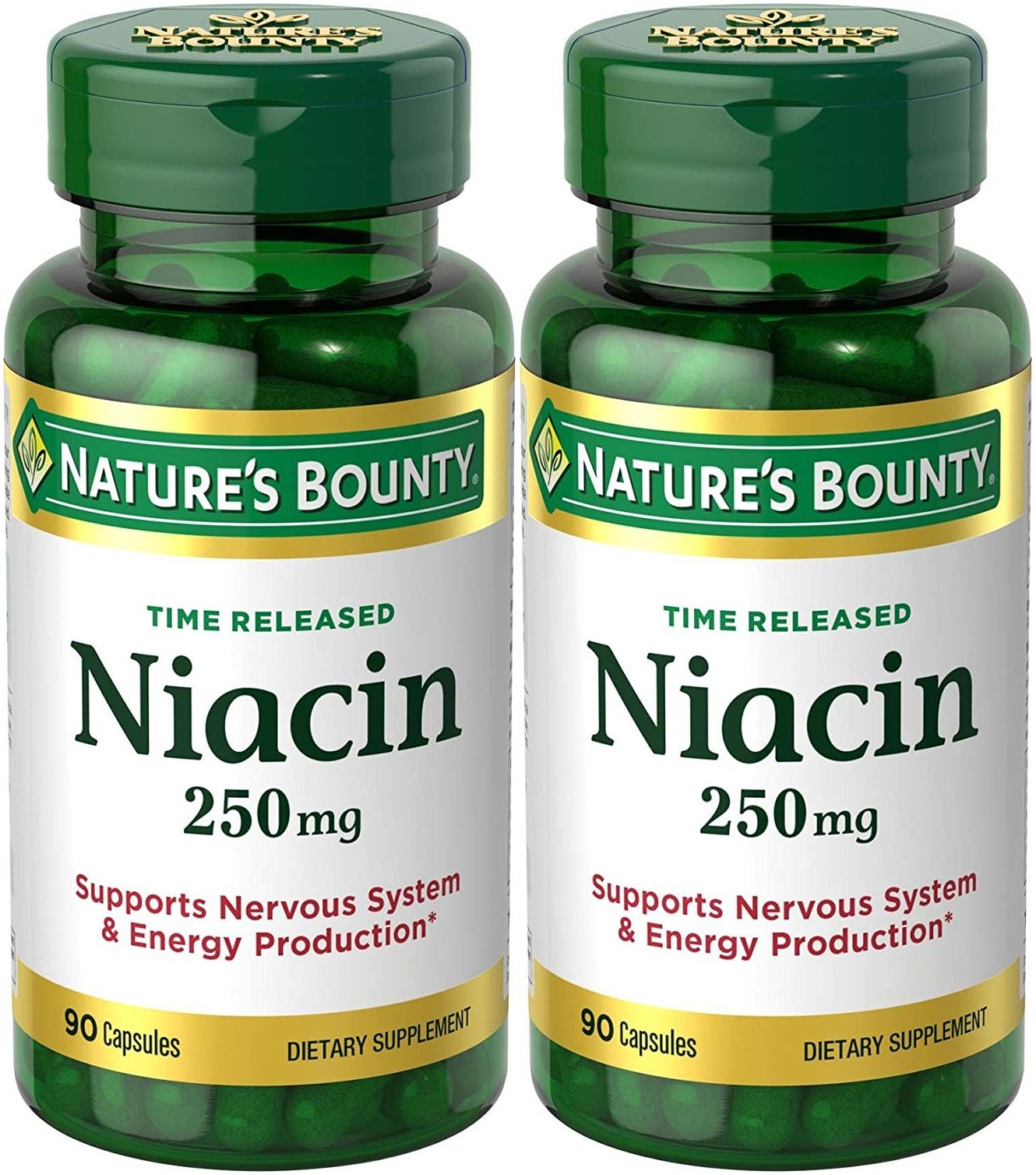 Nature's Bounty, Niacin, Time Released, 250 mg, 90 Capsules - 2pc