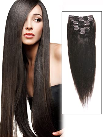 AbHair Cheap Real Long Clip In Remy Human Hair Extensions 18 Inch Dark Brown 7 Piece