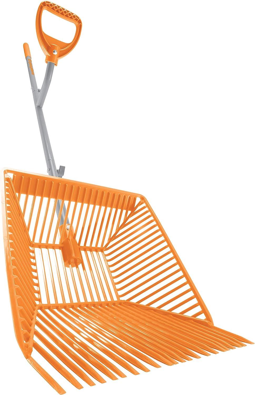 Ergieshovel ERG-MCKS22 22 Tine, Scoop, 54 in Steel Shaft w/Auto Sifting Fork Basket Muck Rake, Gray/Orange