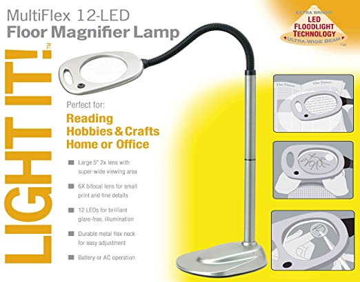 Light it by fulcrum 20072 401 12 led wireless magnifying floor light it by fulcrum 20072 401 12 led wireless magnifying floor lamp with adaptor 53 inch silver needlepoint magnifier amazon mozeypictures Choice Image