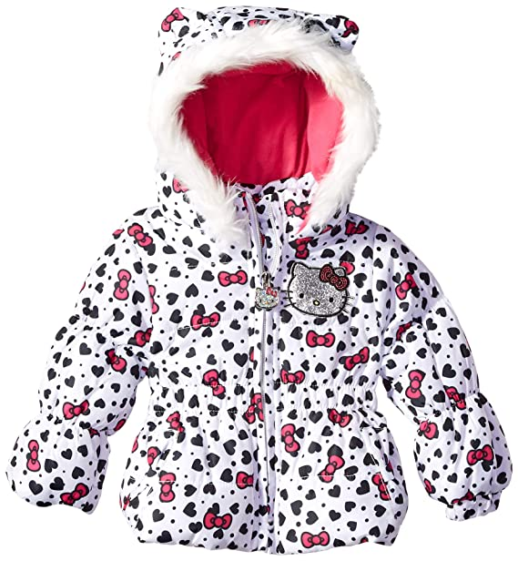 69e677170 Hello Kitty Baby Girls All Over Printed Puffer Jacket with Fur Trim Hood:  Amazon.ca: Clothing & Accessories
