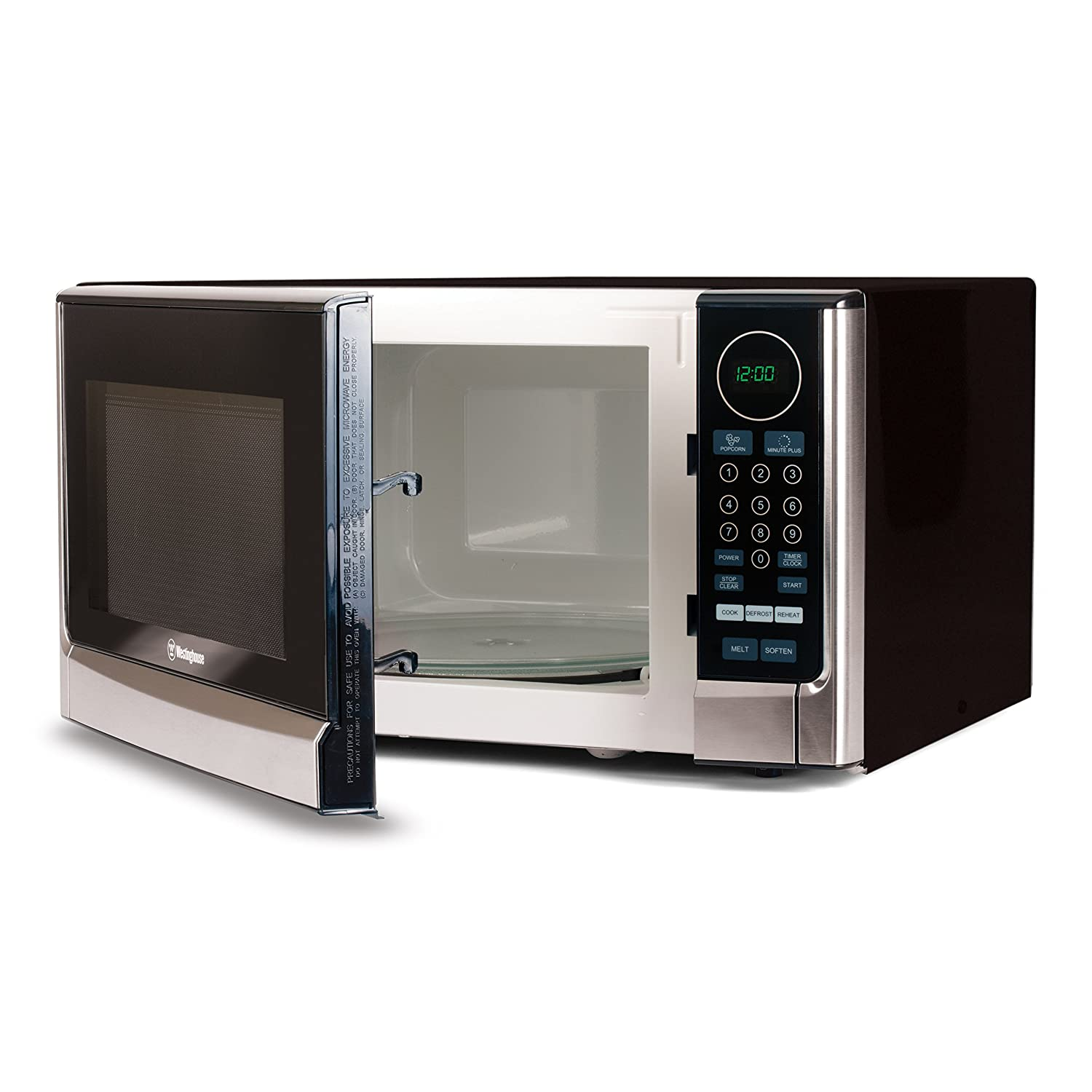 Westinghouse WCM14110SS 1100 Watt Counter Top Microwave Oven, 1 4 Cubic  Feet, Stainless Steel Front, Black Cabinet