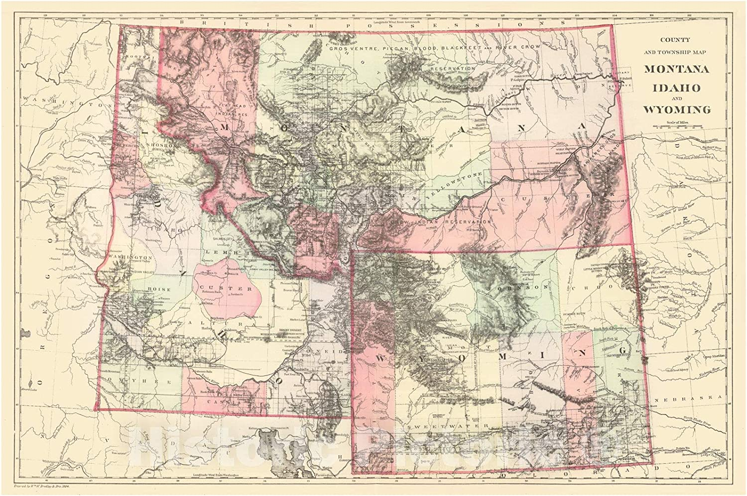 Vintage Map of  Montana High Quality Reproduction Old Ma VINTAGE MONTANA MAP