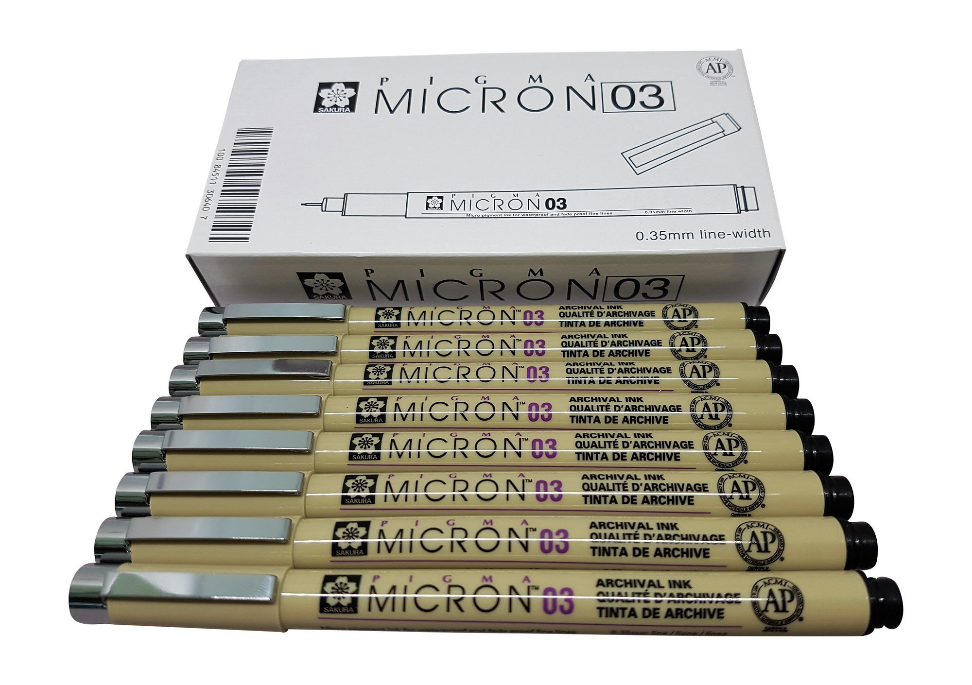 Sakura Pigma Micron pen 03 Black ink marker felt tip pen, Archival pigment ink pens for artist, zentangle, technical drawing pens - 8 pack of Micron 03 Black