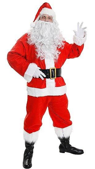 DELUXE SANTA COSTUME FATHER CHRISTMAS SUIT FANCY DRESS COSTUME 10 PIECE  VELOUR SANTA CLAUS MENS ST fa51571d44