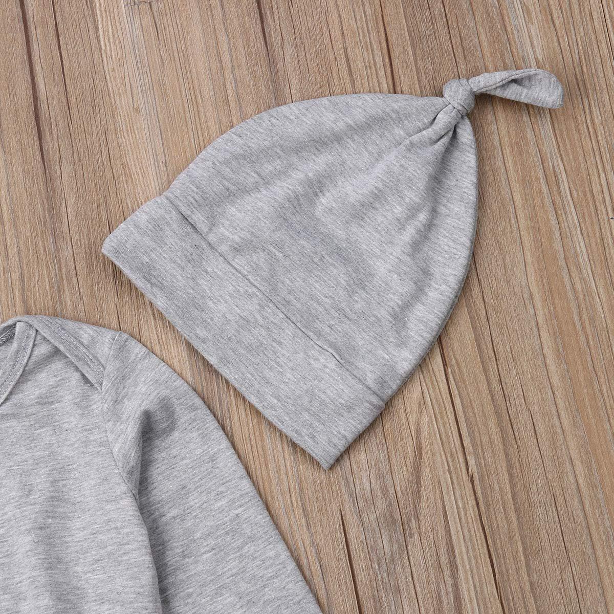 Newborn Baby Coming Home Nighgowns Long Sleeve Plaid Sleepwear Hat Romper Sleeping Bags