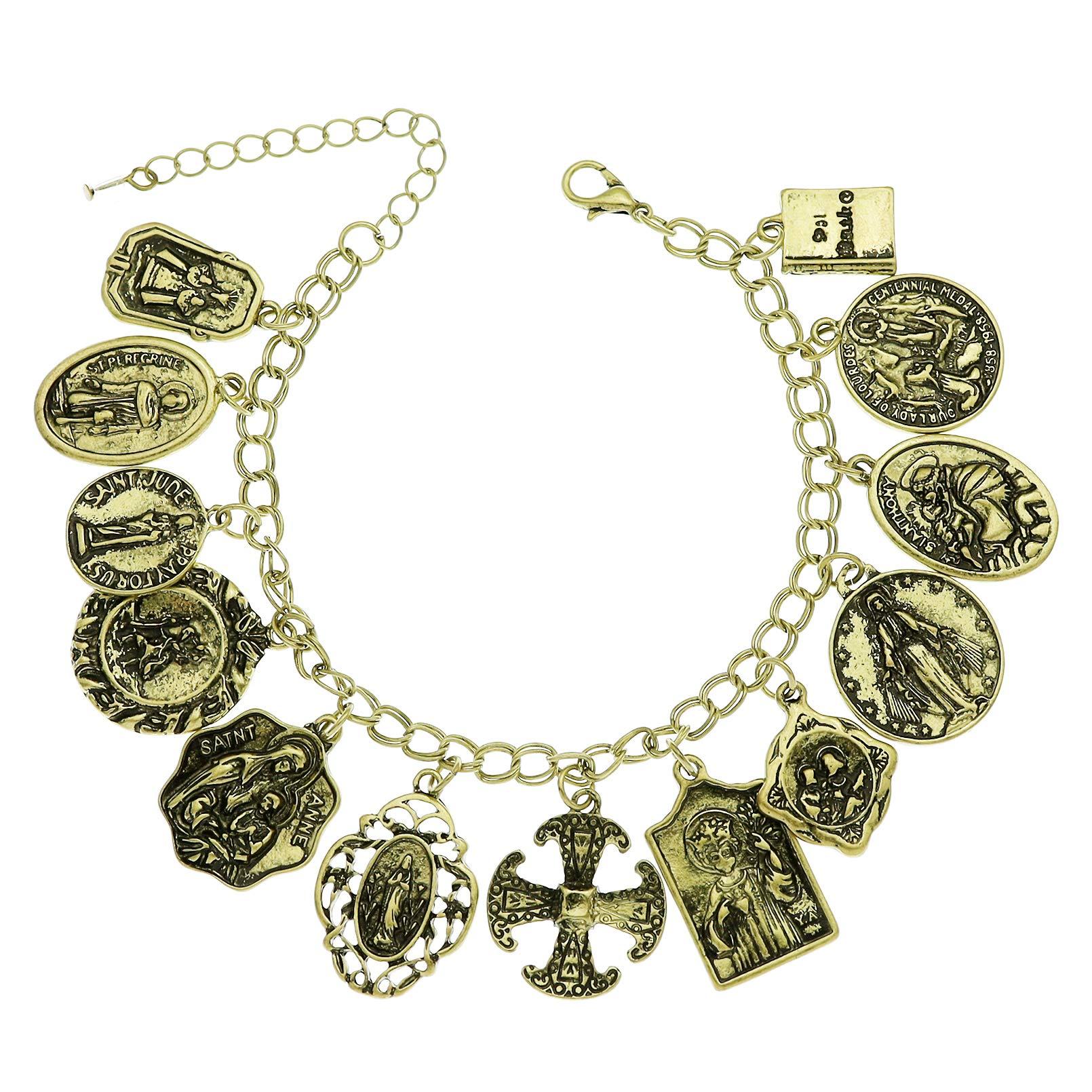 Catholic Religious Church Medals Cross Chain Cuff Bracelet Bangle Charm Inspirational Bible Jesus Saints Pray for US