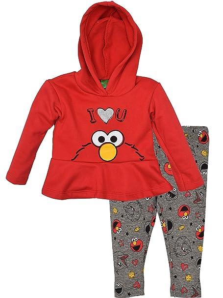 61cb4dcb387bb Sesame Street Elmo Baby Girls' 2-Piece Fleece Ruffle Hoodie & Legging Set (