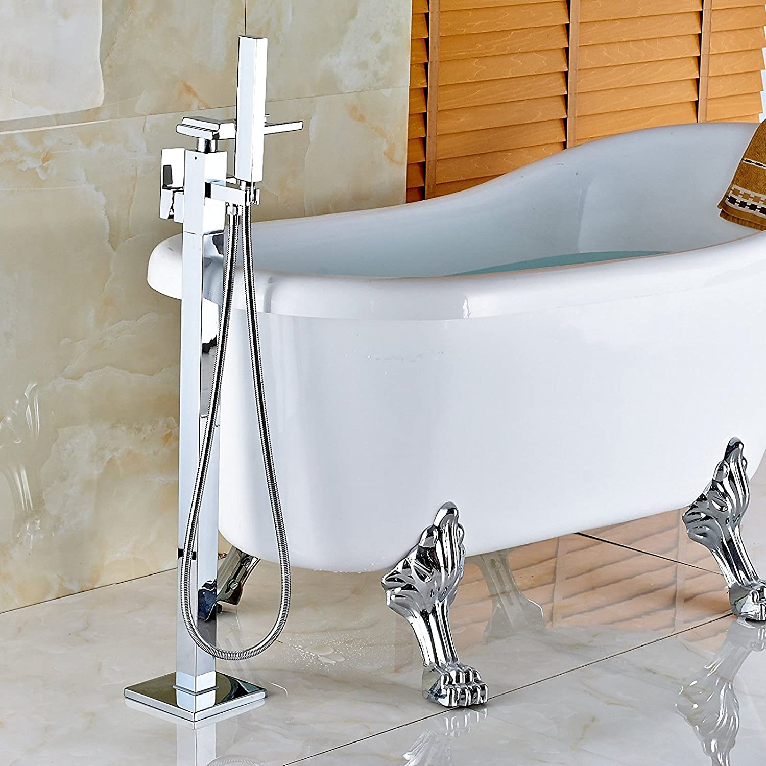Zovajonia Waterfall Spout Bathtub Shower Faucet Floor Mounted Mixer ...