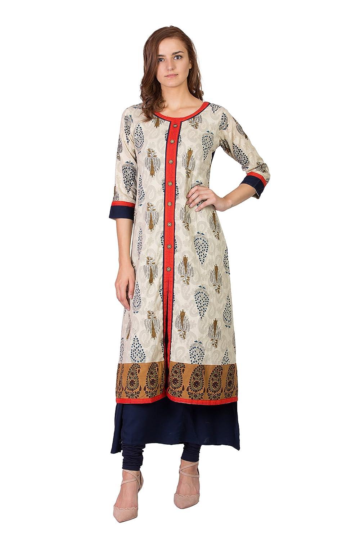 Cream (184bw52xl SABHYATA Women's Kurta Ethnic Long Dress Pure Cotton Kurti Tops for Women Ladies Partywear