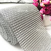 Diamond Rhinestone Ribbon Bling Wrap Bulk DIY- Birthday,Bridal/baby Shower,Wedding Cake,Arts & Crafts Vase Decorations, Party Supplies 30 Feet/Roll by Storystore (Silver)