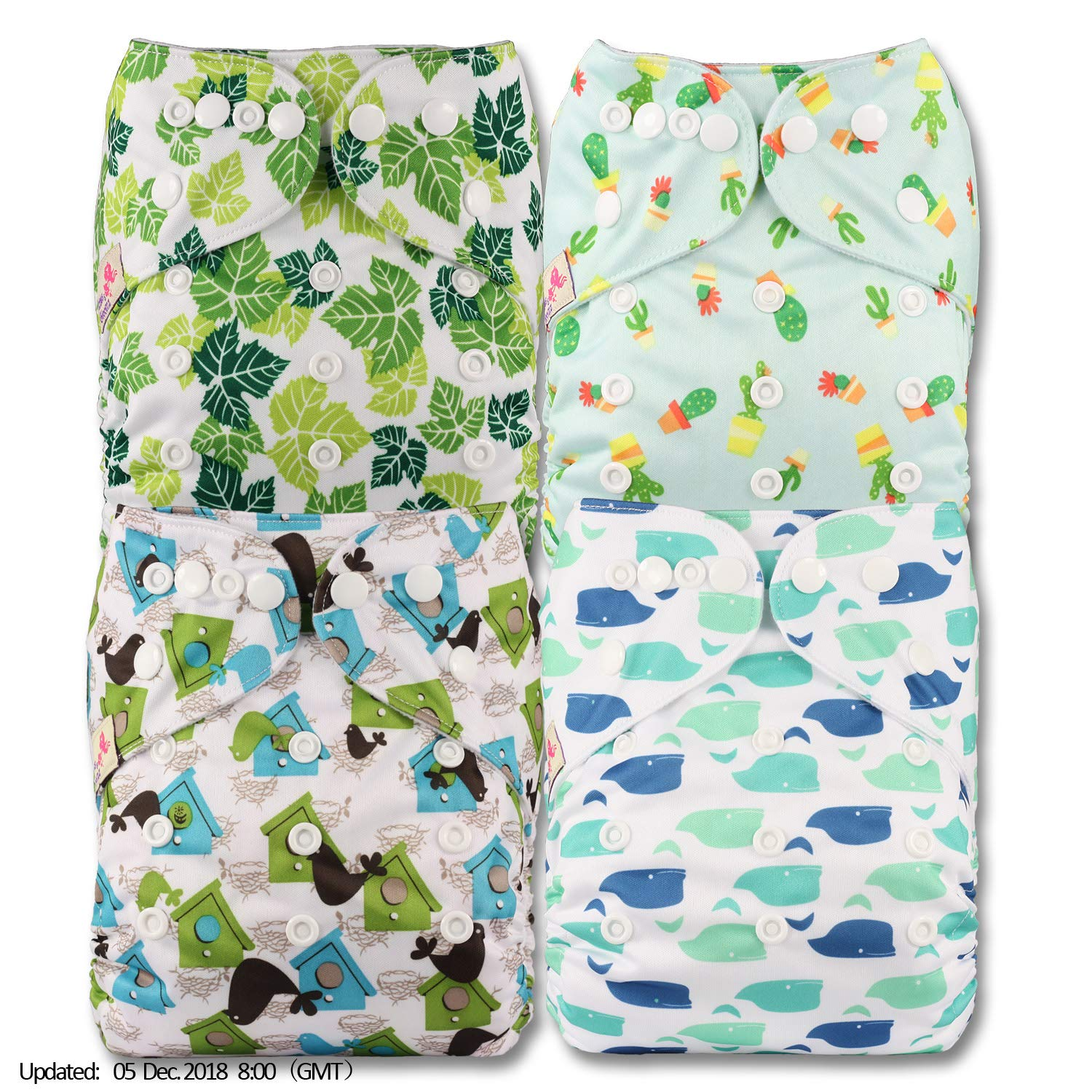 with 1 Bamboo Charcoal Insert Reusable Pocket Cloth Nappy Littles /& Bloomz Fastener: Popper Set of 1 Pattern 2