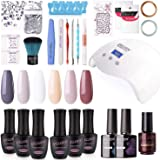 Gellen Gel Nail Polish Kit with UV Light 24W - Elegant Simplicity Series 6 Colors Nail Gel Starter Kit, Manicure Tools Base T