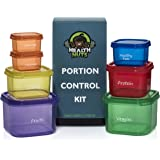 7 Piece Multi-Colored Portion Control Containers Kit WITH LABELS - Easy to Use Guide Included, Clean Up Quickly, Stackable and Portable, Dishwasher / Freezer / Microwave Safe