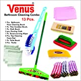 Venus Plastic Bathroom Cleaning Combo (Multicolour, Standard Size) - 13 Pieces