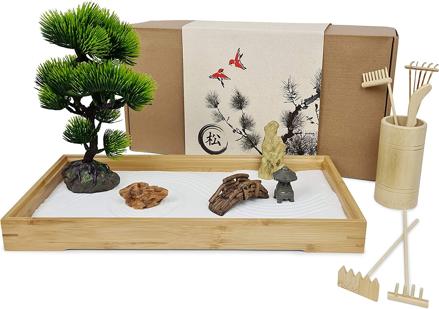 "Japanese Zen Garden for Desk - Extra Large 16"" x 8"" Bamboo Tray with White Sand, Artificial Bonsai Tree, Rocks, Rakes and Accessories - Meditation Sand Garden Kit for Home and Office Decor"