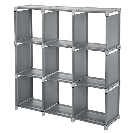 SONGMICS 9 Cube DIY Cube Storage Shelves Open Bookshelf Closet Organizer  Rack Cabinet Gray ULSN45GY