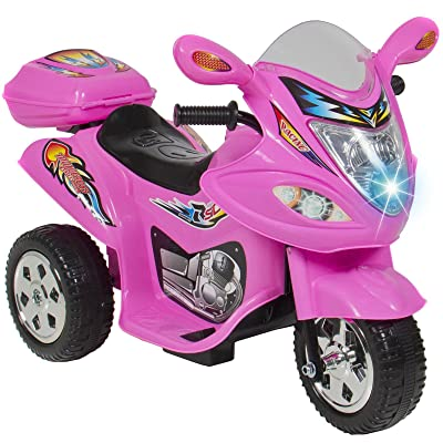 Golden Banana Kids Ride On Motorcycle 6V Toy Battery Powered Electric 3 Wheel Power Bicyle, Durable Plastic Body Design, Recommend for 18 Months-4 Years (Pink): Sports & Outdoors
