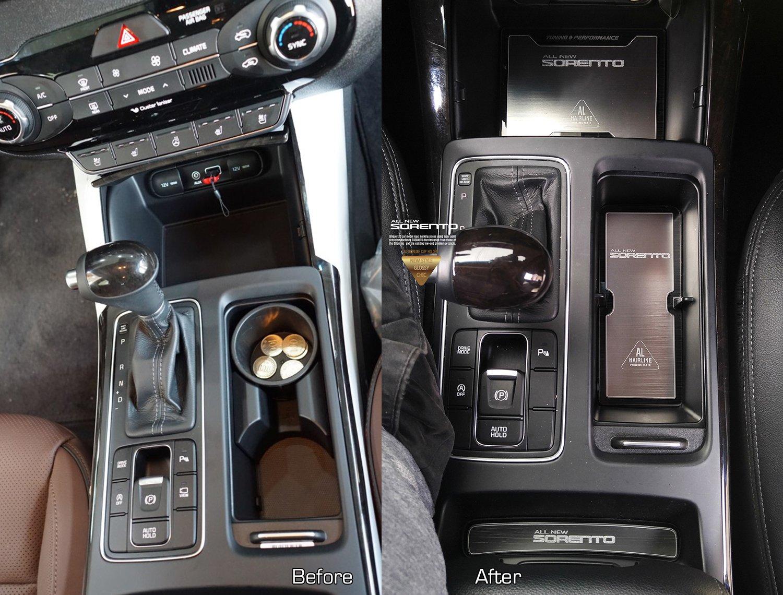Patr/ón de aluminio bloque de dos taza soporte consola placa accesorios 4P para Hyundai ioniq 2017/2018