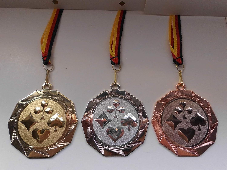 Medaillen Karate Kampfsport Medaillen 70mm Emblem 50mm mit Deutschland-Band Pokal Turnier