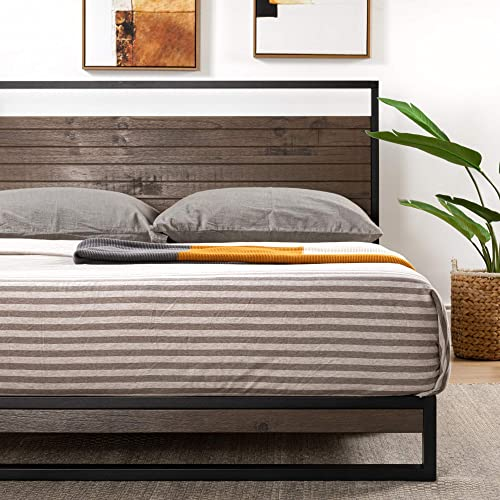 ZINUS Suzanne Metal and Wood Platform Bed Frame / Solid Wood Steel Construction / No Box Spring Needed / Wood Slat Support / Easy Assembly