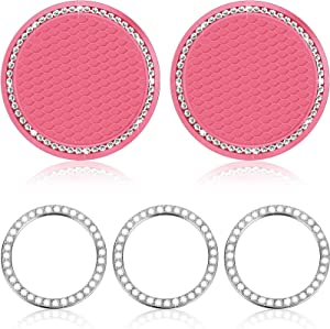 Frienda 2 Pieces Bling Car Coasters Silicone Crystal Car Cup Holder and 3 Pieces Car Starter Button Rhinestone Ring Emblem Sticker Glitter Diamond Car Accessory for Women (Pink with White)