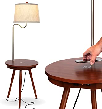 Brightech Owen End Table With Lamp For Living Rooms Wireless Charging Station Usb Ports Built