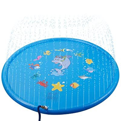 "SKOLOO Sprinkle & Splash Play Mat,68"" Sprinkler Pad Outdoor Water Toy for Toddlers Boys Girls Children Party Sprinkler Wading Pool Fun Gift for Kids 1 - 13 Years Old,Blue: Toys & Games"