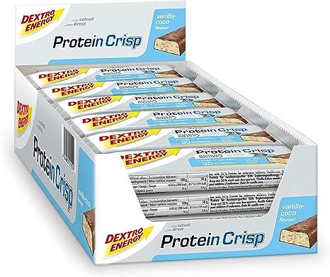Dextro Energy Protein Bar Vanilla Coco 24 X 50 G Protein Crisp Protein Bar Ideal Protein Snack Protein Powder Protein Shake Alternative Amazon Co Uk Health Personal Care