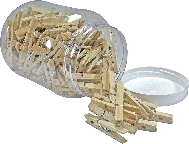 Pinces /à Linge Britten et James 100 en Bois Dur de premi/ère qualit/é dans Un Pot en Plastique Piquets Traditionnels en Bois de Bouleau pour la lessive et Le Bricolage