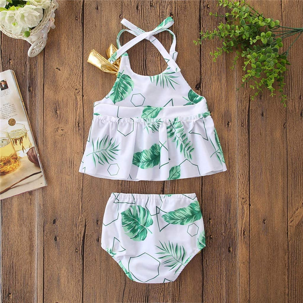 MEANI Kids Girl Baby Swimwear Floral Printed Bow Bikini Swimsuit Beach Halter Set