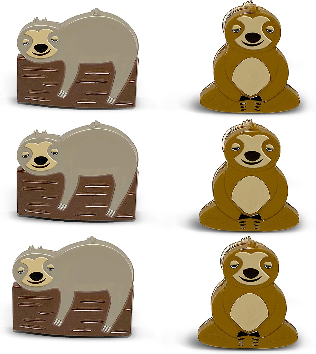 6 Pack Sloth Bag Clips, Kitchen Chip Clips Set, Tight Seal for Food Bags, Air Tight Snack Bag Grip, Multipurpose Bag Clips for Food Storage, Woodland Sloth Animals