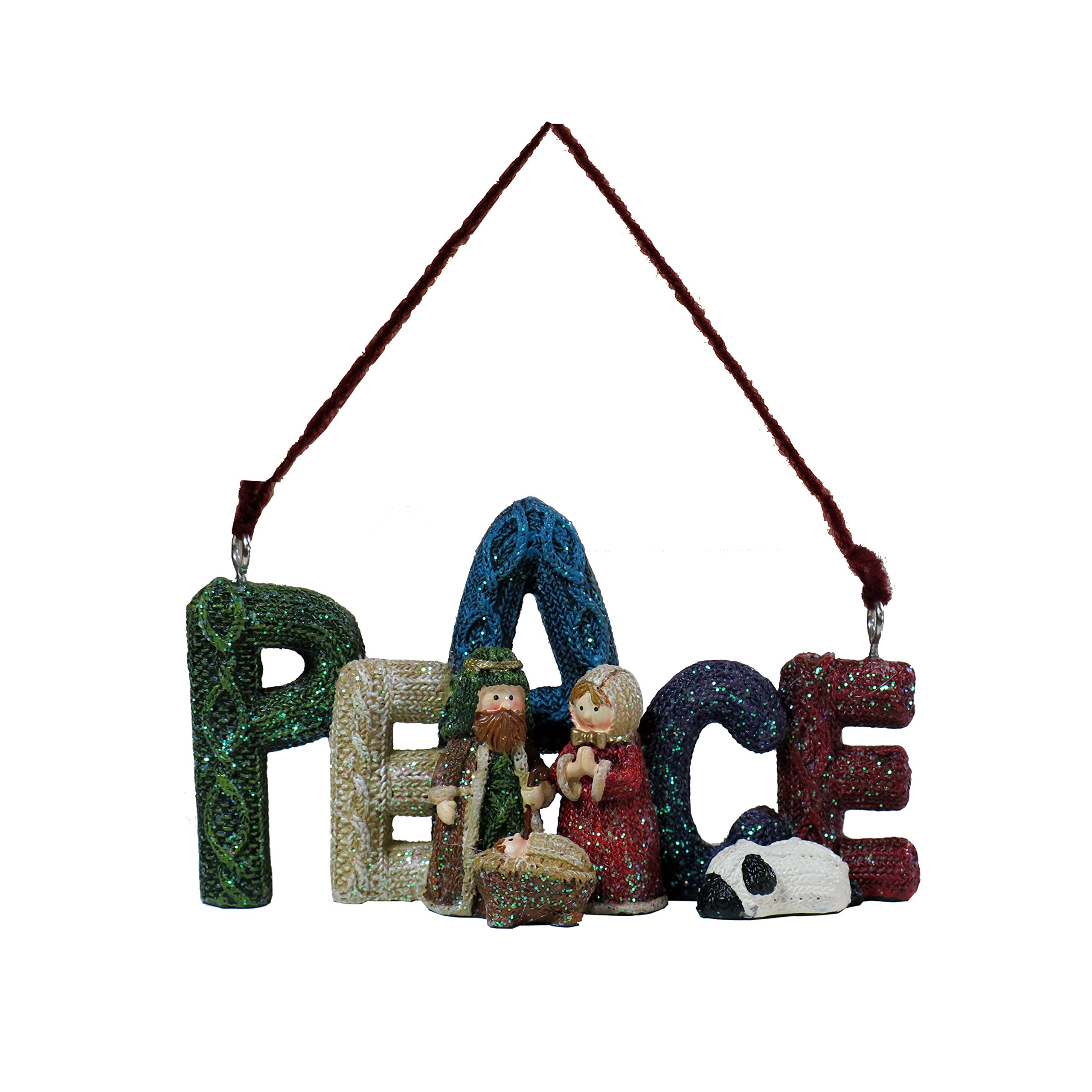 Lee's Home Nativity Knitting Finish ''Peace'' with Holy Family Ornament by Lee's Home