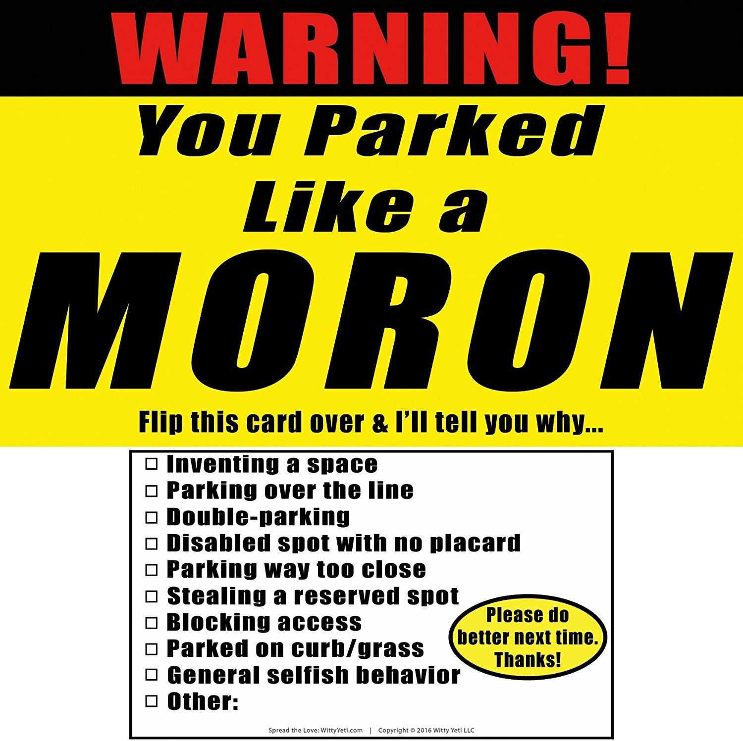 Amazon.com: YOU PARKED LIKE A MORON 25 Note Pack by Witty Yeti. It\'s ...