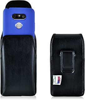 product image for Turtleback Holster Compatible with LG G5 Black Vertical Belt Case Leather Pouch with Executive Belt Clip Made in USA