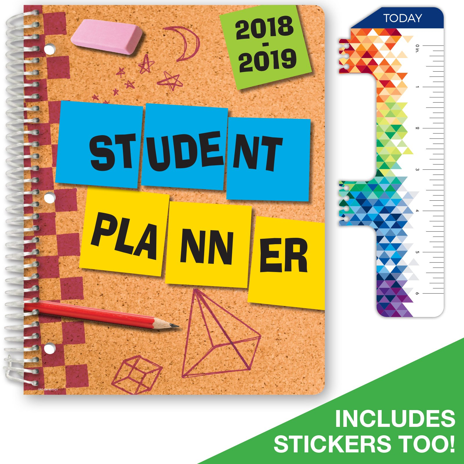 Dated Elementary Student Planner for Academic Year 2018-2019 (Matrix Style - 8.5''x11'' - Cork Board Cover) - Bonus Ruler/Bookmark and Planning Stickers