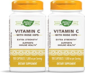 Nature's Way Vitamin C 1000 mg with Rose Hips, 1000 mg per Serving, 100 Capsules, Pack of 2