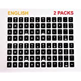 [2 Packs] Replacement English Keyboard Stickers on Non Transparent Black Background for Any PC