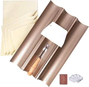 French Baguette Bread Baking Kit, Nonstick Perforated Baguette Pan + Bakers Proofing Couche Dough Cloth + Bread Lame + Dough Scraper for Professional & Home Bakers