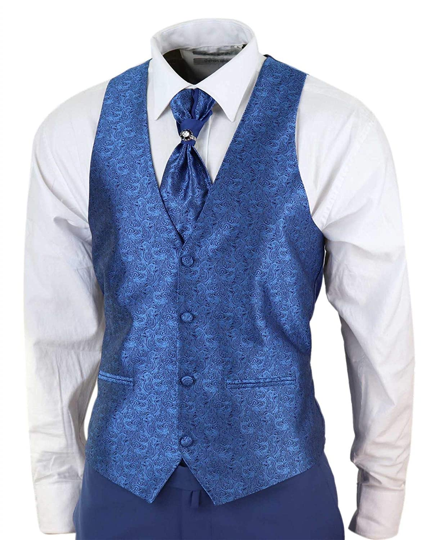 Mens 4 Piece Wedding Suit Groom Shawl Collar Vintage Blue Cravat Tailored Fit