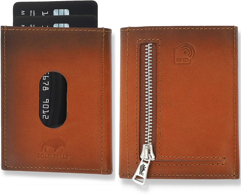 SOLO PELLE Slim Wallet mit Münzfach [12Karten]