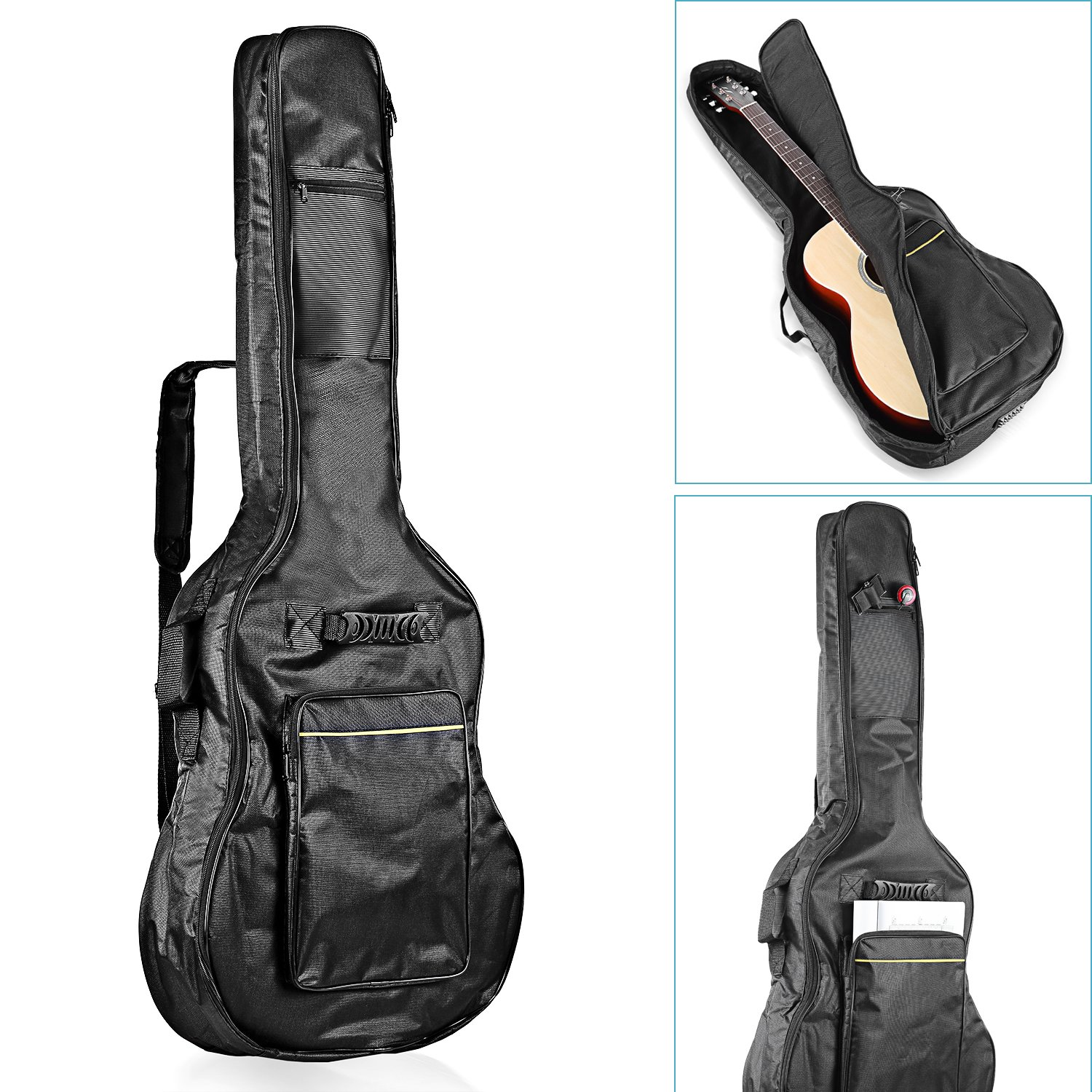 Neewer® Protective Acoustic Guitar Padded Gig Bag with 2 Shoulder Straps, 2 Handles and Extra Pockets, Made of Durable and Waterproof Nylon, Fit Most Standard Acoustic Guitars (Black)