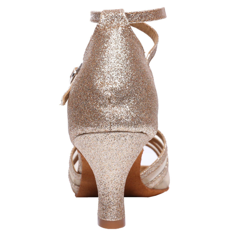 Akanu Women's Latin Dance Shoes Female's Ballroom Salsa Dance Shoes(E-Style Gold Size 7.5) by Akanu (Image #3)